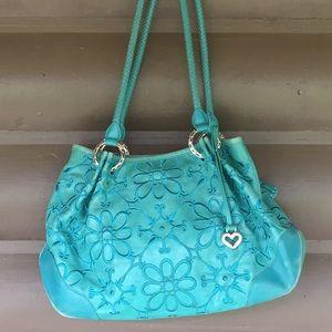 Brighton Barbados zip Hobo Cerulean leather bag